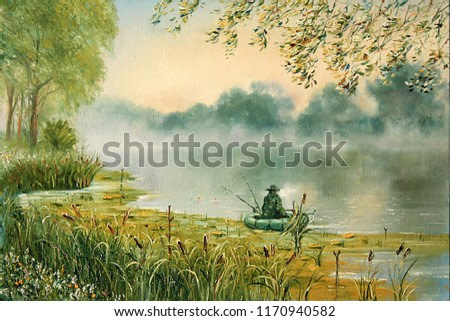 A fisherman in a boat on the lake. Painting. Painting with oil paints