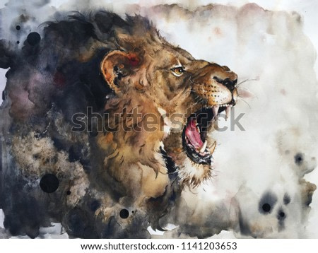 Watercolour painting of lion