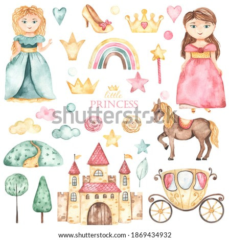 Cute princesses, castle, carriage, horse, shoes, crowns, flowers in pink and green. Watercolor hand drawn clipart
