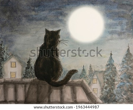 A black cat sitting on a house rooftop look at white full moon above the town and trees under dark blue sky at night, water color painting illustration picture