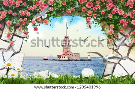 3d wallpaper design with maiden tower of istanbul from a broken wall for photomural