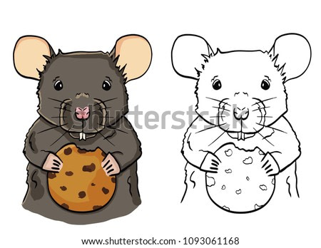 Illustration of cartoon mouse with cookie. Little mouse in color holding cookie.