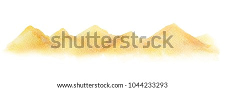 Watercolor horizontal background of a landscape with a desert. Handpainted watercolor clipart.