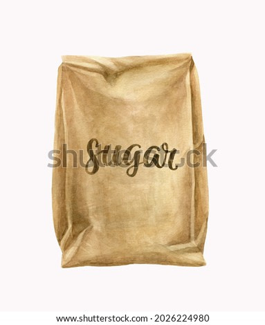 Watercolor illustration, painting. Isolated object on white background. Food drawing, baking ingredients, dessert. Food preparation, recipes. Kraft bag, packaging design. Handwritten inscription sugar