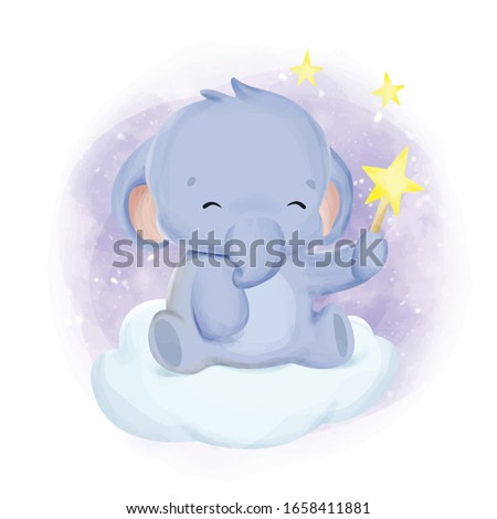 baby elephant playing with a star, watercolor