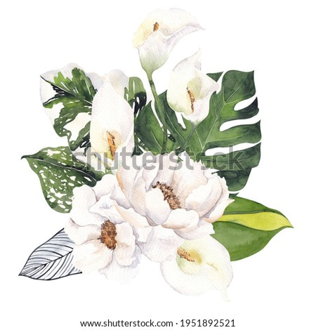 Watercolor bouquet with tropical flowers and green leaves, isolated on white background