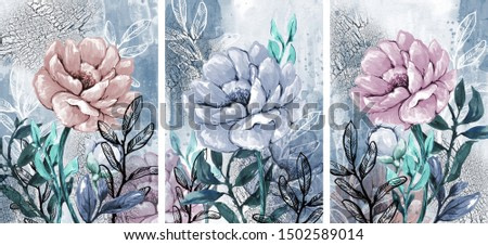 Triptych. Botanical illustration. Hand drawing.