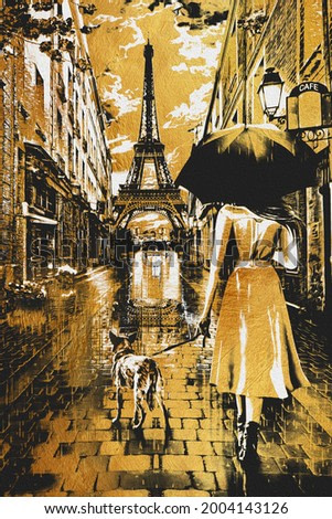 Painting - Rainy Day Paris with Eiffel tower.Collection of designer oil paintings. Decoration for the interior. Modern abstract. The texture of the oriental style of gray and gold. umbrella