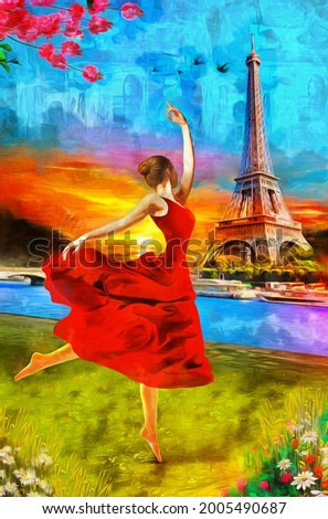 Oil Painting - A girl ballerina dancing at sunset in Paris with the Eiffel Tower. Collection of designer oil paintings. Decoration for the interior. Modern abstract canvas art. vintage