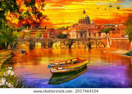 oil painting of Amazing view of St. Peter's cathedral and Tiber river in Rome, Italy. watercolor, oil on canvas, wallpaper, buildings, sunset, art, artwork. Basilica. boat