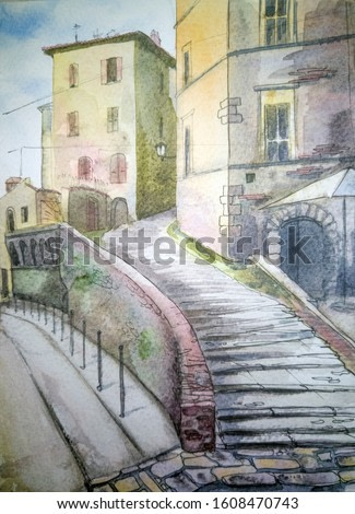Italy city landscape. Watercolor illustration. Old vintage Italian courtyard. Wallpaper, poster or postcard design. Stone arch and staircase on the street of an ancient Italian town landscape. Toscana