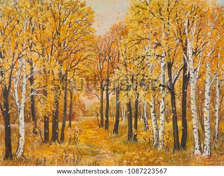 Autumn forest, orange leaves. Original oil painting on canvas. Author s painting.