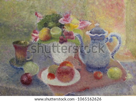 Picture. Butter. Pointillism. As an artist saw a simple still life. Its own interpretation. Bright, simple, juicy, light still life. Coloring. Complex colors. Painting in the interior. China. fruits v