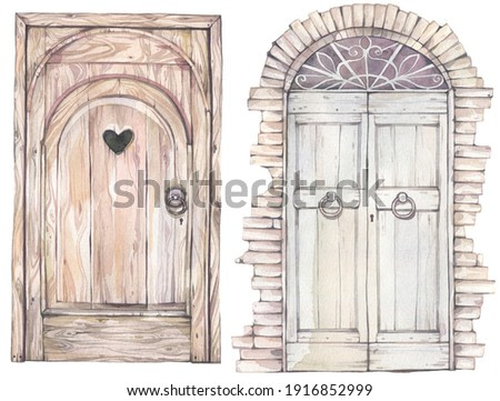Two old style wood doors. Hand drawn watercolor illustration.