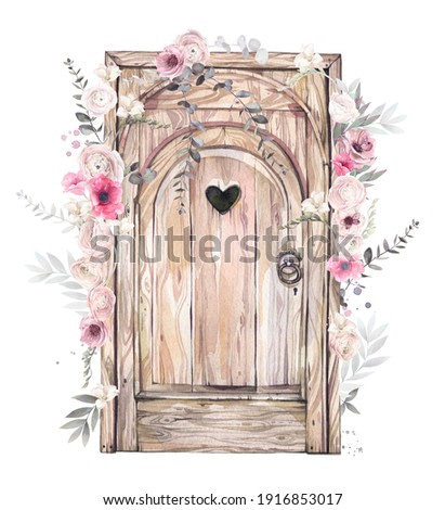 An old style wood door decorated by flowers. Hand drawn watercolor illustration.