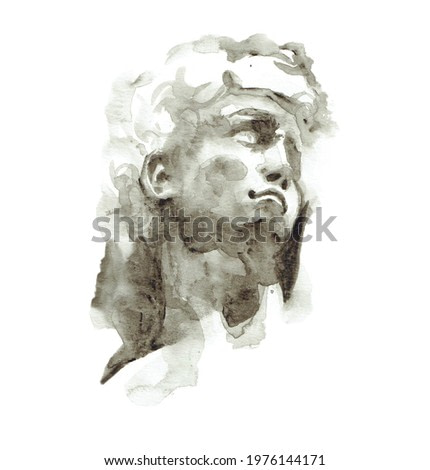 Classic roman man painting watercolor Roman Black and white color
