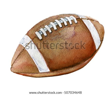 watercolor sketch of american football ball on white background