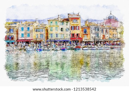watercolor landscape.Colorful traditional houses on the promenade in the port of Cassis town, Provence, France