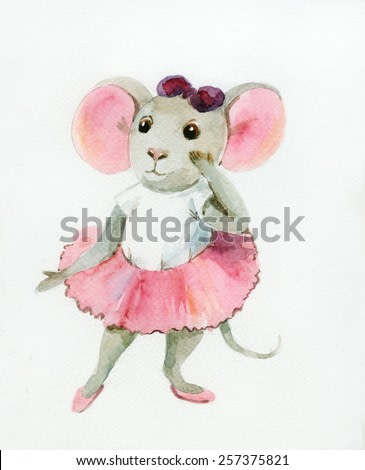 Watercolor painting of gray mouse-ballerina