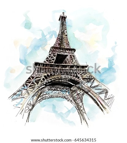 Eiffel tower. Hand drawing illustration. Gel pen and watercolor