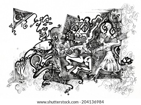 black drawing with azteque symbols, people, dancing, ritual/azteque/ scan of drawing