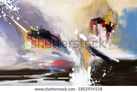 Oil painting imitation, modern abstraction - long and short strokes