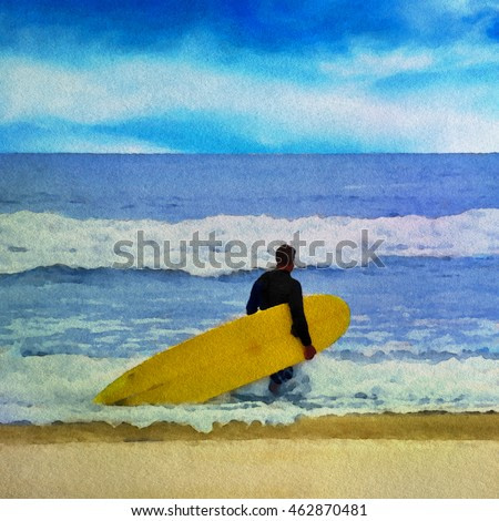Watercolor painting of a surfer on the beach