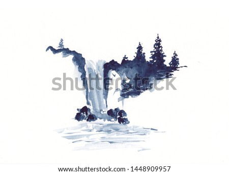Watercolor landscape of waterfall and pine trees in Chinese Ink technique. Hand drawn calm mountains background for relaxation, meditation, restoration. Paper arts sketch. Asian style sumie painting.