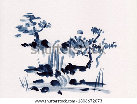 Watercolor painting of 2 stepped waterfall and pine trees in Chinese Ink technique. Hand drawn calm background for relaxation, meditation & restoration. Paper arts sketch. Asian style sumie painting.
