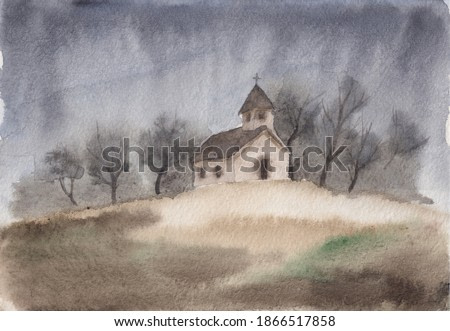 Watercolor painting with small church on a hill. Moody foggy late autumn landscape with grey sky. Peaceful calm sketch illustration for meditation background, interior decoration, post card, print.