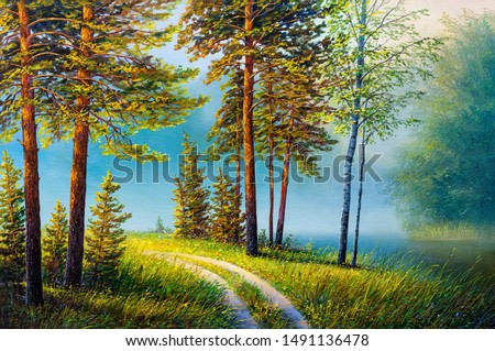 Oil painting forest landscape, beautiful solar road in the woods . Foggy morning in the forest.