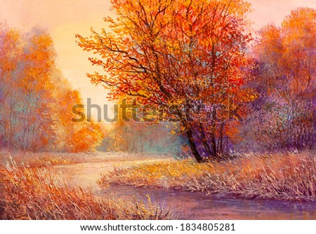 Path in the autumn forest, orange leaves.Oil painting landscape.