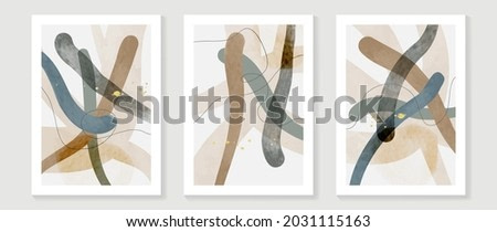 Mid century modern triptych wall art vector. Abstract art background with abstract shapes line drawing  and watercolor texture. Hand paint design for wall decor, poster and wallpaper.