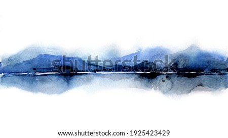 Landscape with islands in water. Traditional Japanese ink wash painting. Indigo Watercolor Silhouette of the mountains of lake. Blue shades. Artwork painting for poster, card, banner, book, cover.