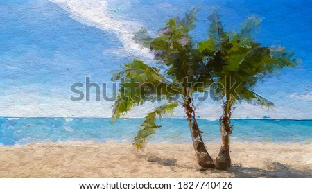 Illustration picture of white sand beach view with two coconut palm trees under blue sky converted to oil painting picture style, Watercolour painting of landscape and nature background.
