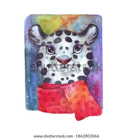 Cute snow Leopard with a warm scarf. Watercolor illustration.