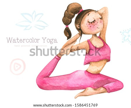 Hand painted watercolor illustration of a girl or young woman in yoga pose, practicing meditation and healthy lifestyle, isolated on white background.