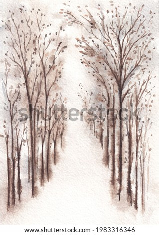 Nature watercolor late autumn or winter landscape. Sepia colored landscape with alley of trees on white background. Watercolor painting on textured paper.