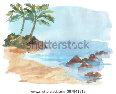 Summer watercolor beach wright paper. Beautiful watercolor background. Untouched tropical beach. Watercolor.