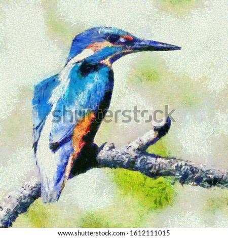 best kingfisher oil painting on canvas