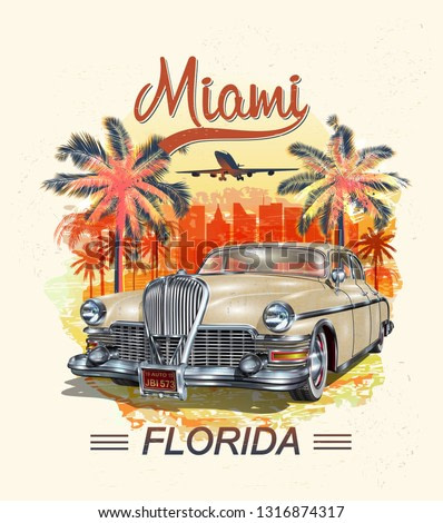 Miami typography for t-shirt print with palm and retro car.Vintage poster.
