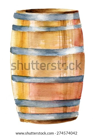 A watercolor drawing of a wine barrel on white background