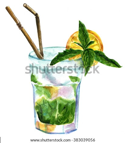 A watercolor drawing of a mojito cocktail with mint leaves, a wedge of lemon, and drinking straws, on white background