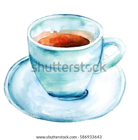 A watercolour drawing of a cup of coffee in teal hues, isolated on white