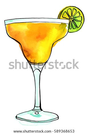 A vector and watercolour drawing of a Margarita cocktail with a slice of lime, isolated on white background