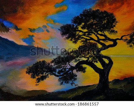 Oil painting landscape - tree near the lake at sunset