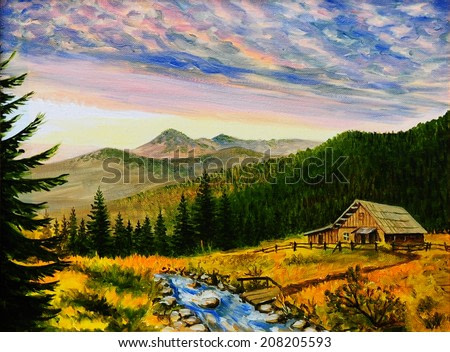 oil painting landscape - sunset in the mountains, village house
