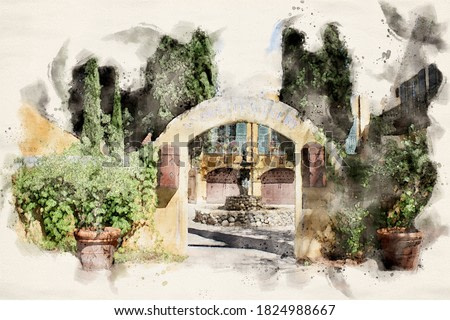 Watercolor Painting of California Winery Courtyard