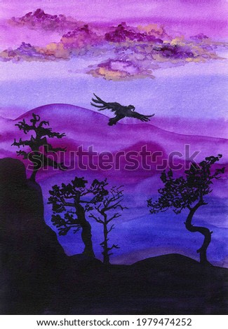 beautiful watercolor illustration of a mountain landscape in the evening sunset with silhouettes of an eagle or condor, pine and other trees on the rock