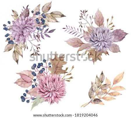 Watercolor fall floral bouquets. Yellow autumn leaves, dahlia and aster flowers, berries. Colorful hand-drawn illustration isolated on the white background.